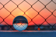 crystal ball at sunset